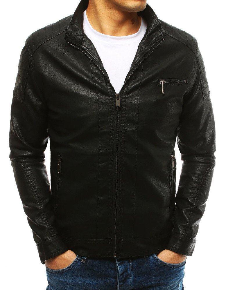 Pánská černá kožená bunda tx2631