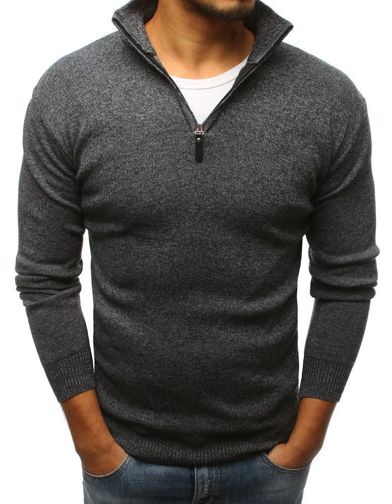Pánský svetr grafitový se zipem wx1136