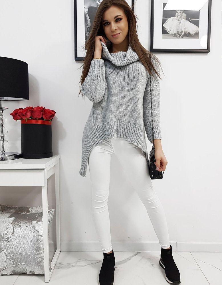 Asymetrický dámský rolákový svetr šedý my0671