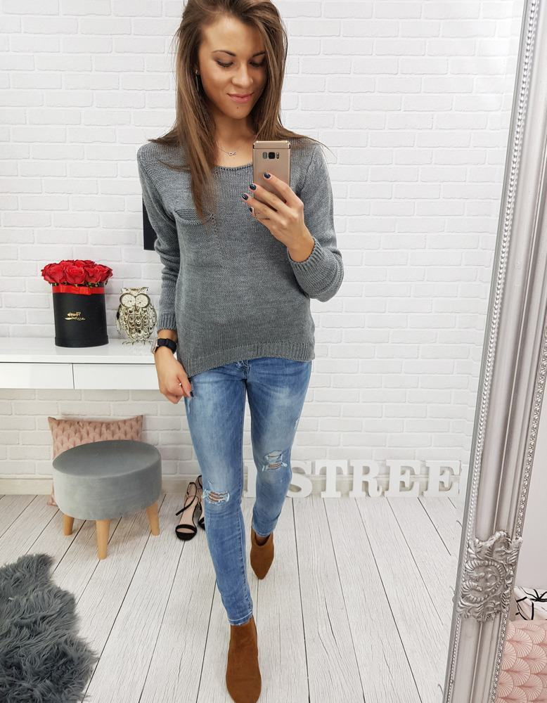 Grafitový dámský svetr my0312