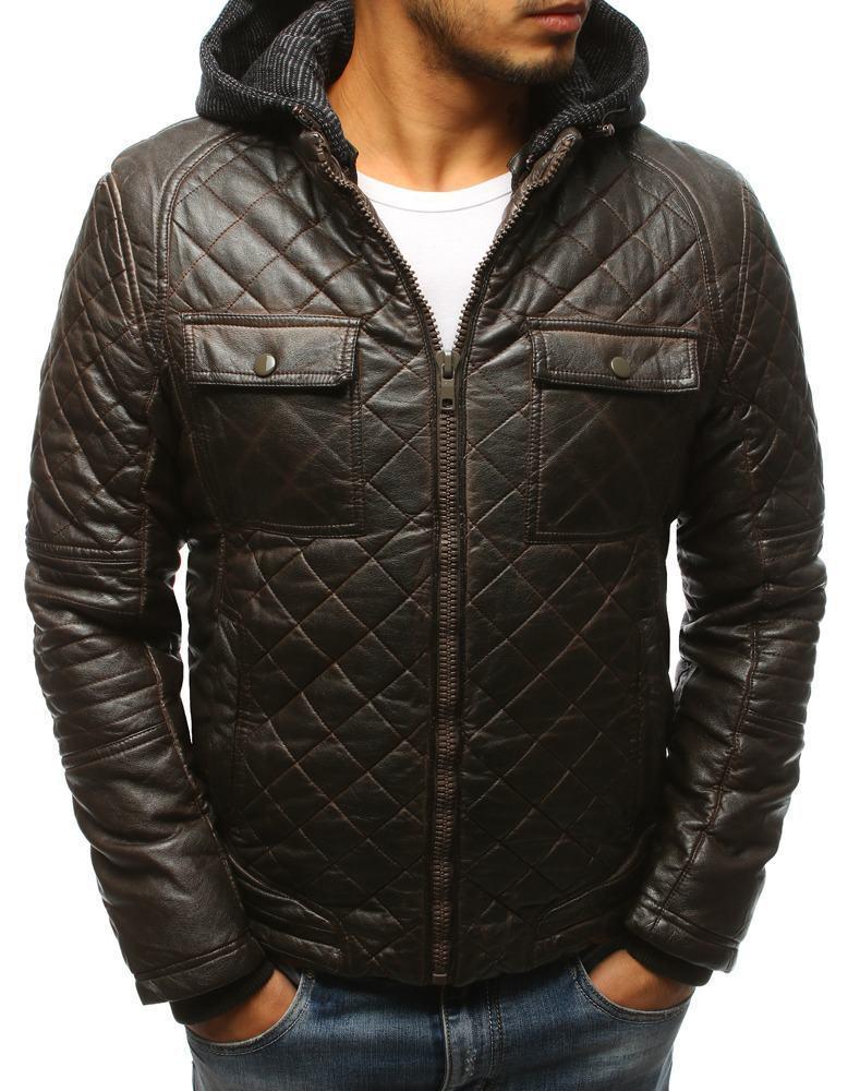 Pánská zimní kožená bunda hnědá tx2432