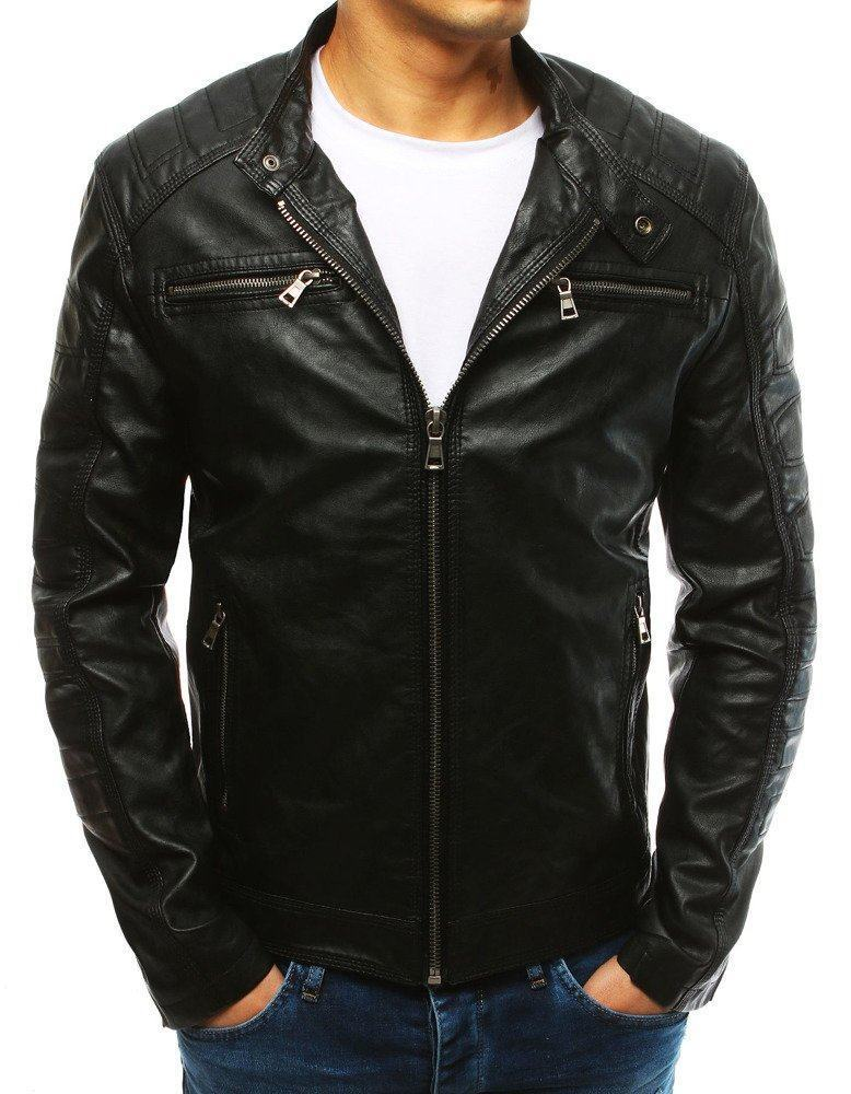 Pohodlná pánská černá kožená bunda tx2628