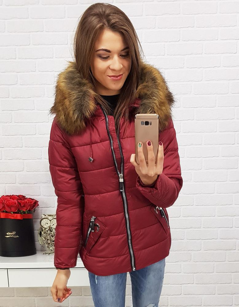 Trendovní zimní dámská bunda - červená ty0418
