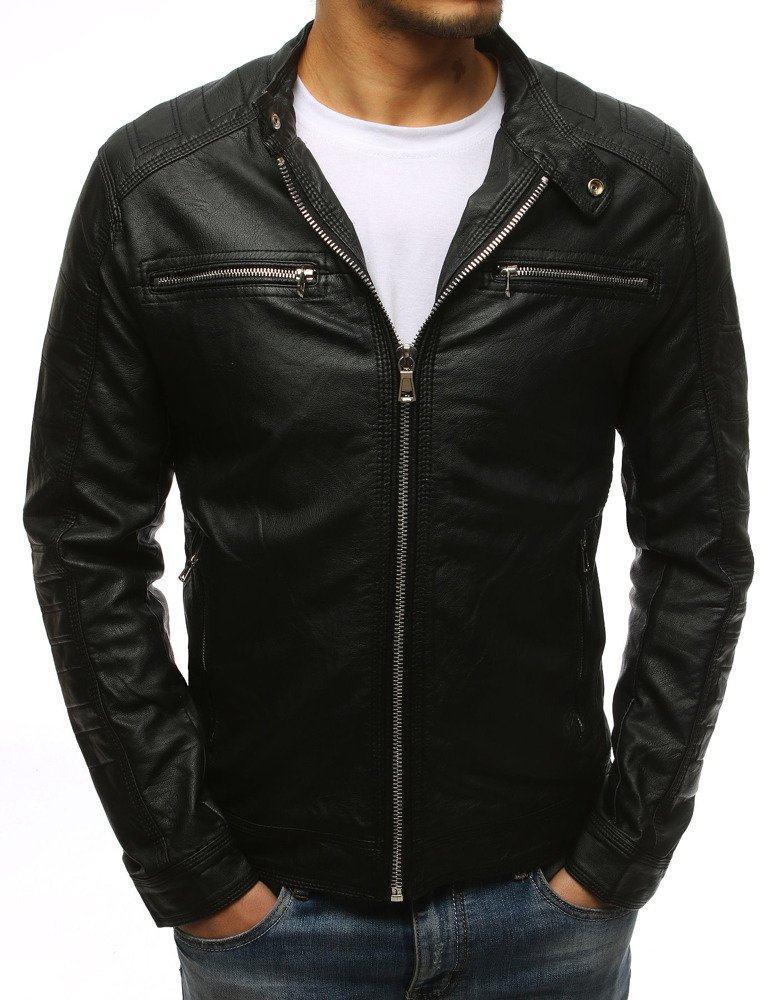 Pánská pohodlná černá kožená bunda tx1532