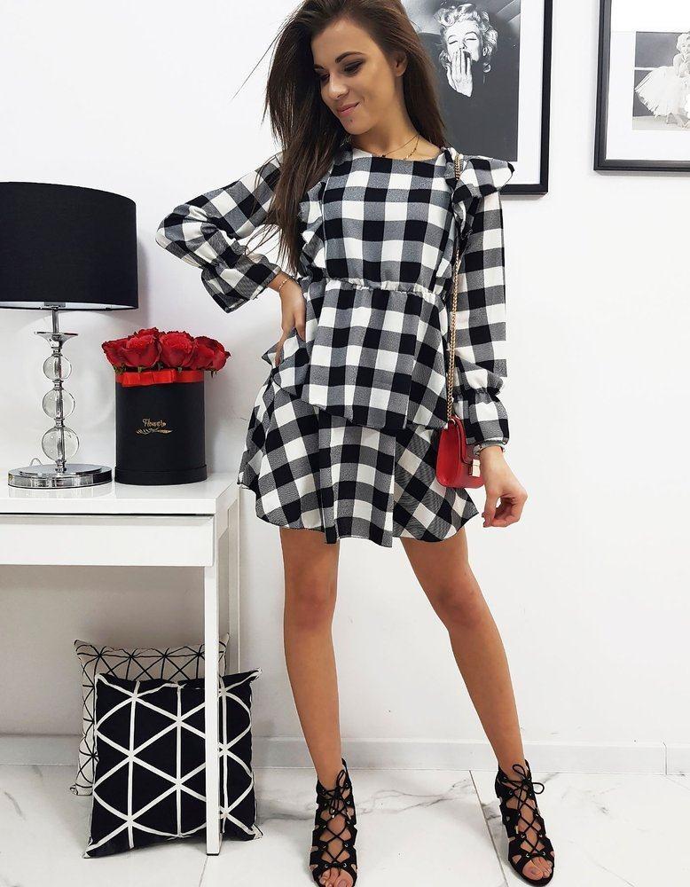 Dámské černo bílé kostkované šaty TOSCA ey1050