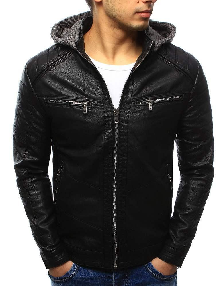 Moderní pánská černá kožená bunda s kapucí tx2070